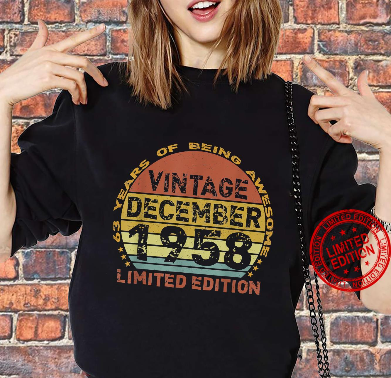 63 Years Old Vintage December 1958 Distressed 63rd Birthday Shirt sweater