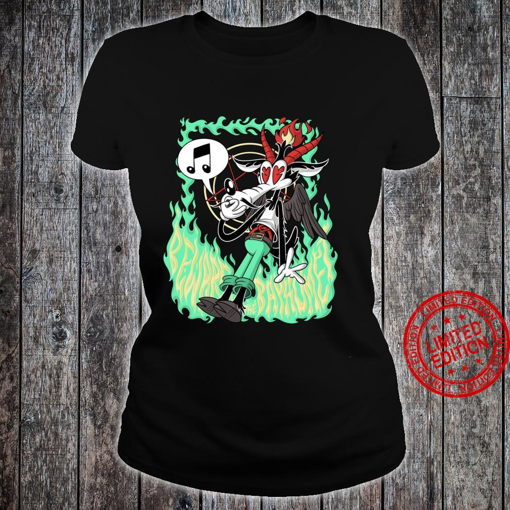 Funny Beware the Baphomet evil Wolf Whistle Hell's Flames Shirt ladies tee